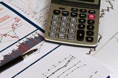 Cartas financieras en el vector con la calculadora Imágenes de archivo libres de regalías