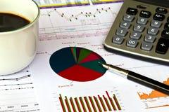 Cartas financieras en el vector con la calculadora Fotos de archivo libres de regalías
