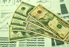 Cartas financieras y dólar americano #4 imagen de archivo libre de regalías