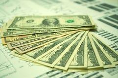 Cartas financieras y dólar americano #6 Imagenes de archivo