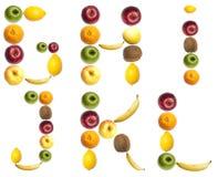 Cartas hechas de frutas Imagen de archivo libre de regalías