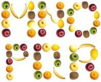 Cartas hechas de frutas Foto de archivo