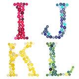 Cartas I, J, K y L hechos de botones Fotos de archivo