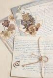 Cartas manuscritas de la vendimia con el herbario Imágenes de archivo libres de regalías