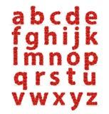 Cartas minúsculas del ABC de la fuente roja de las rosas. Foto de archivo libre de regalías