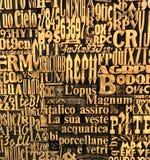 Cartas, números y fondo de los símbolos Imagenes de archivo