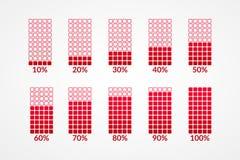 10 20 30 40 50 60 70 80 90 cartas quadradas de 100 por cento Símbolos vermelhos isolados Elemento do vetor da porcentagem Ícones  ilustração royalty free