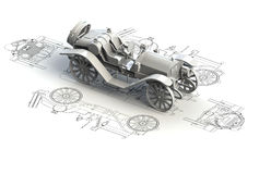 Cartas retras del coche con el modelo 3d Imágenes de archivo libres de regalías