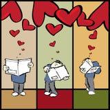 Cartas románticas del amante ilustración del vector