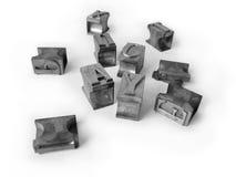 Cartas tipográficas del metal Imagenes de archivo