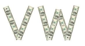 Cartas V, W hecho de dólares Fotografía de archivo