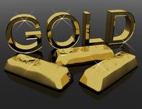 Cartas y barras del oro como símbolo para la abundancia Imagenes de archivo