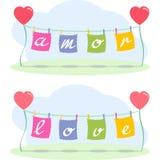 Cartas y corazones de amor Imagen de archivo libre de regalías