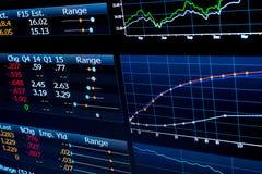 Cartas y datos financieros sobre el monitor de computadora Foto de archivo libre de regalías