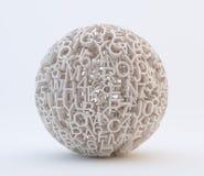 Cartas y esfera al azar de los números ilustración del vector