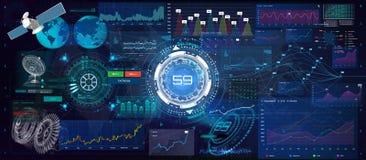 Cartas y gráficos de la tecnología con opciones y cartas del flujo de trabajo ilustración del vector