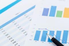 cartas y gráficos de negocio financieros Imagen de archivo libre de regalías