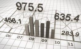 Cartas y gráficos financieros Fotos de archivo