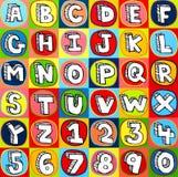 Cartas y números coloridos del alfabeto Imagen de archivo