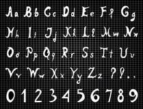 Cartas y números originales del alfabeto Fotos de archivo