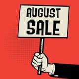 Cartaz à disposição, conceito do negócio com texto August Sale Fotografia de Stock Royalty Free
