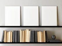 Cartaz ascendente trocista, livros com decora??o da casa ilustração stock