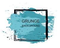 Cartaz azul do curso do projeto da textura da pintura da escova do grunge sobre o vetor quadrado do quadro Foto de Stock Royalty Free