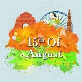 Cartaz, bandeira, inseto para o Dia da Independência indiano Fotografia de Stock Royalty Free