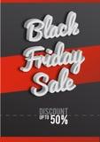 Cartaz Black Friday Fundo preto e branco, discontos, por cento, venda, texto 3D Venda e oferta especial Vetor Imagem de Stock