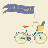 Cartaz bonito com mão bonito a bicicleta tirada da cidade Ilustração Stock