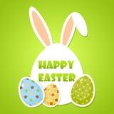 Cartaz bonito da Páscoa com ovos e orelhas de coelho ilustração stock