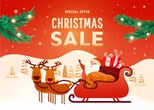 Cartaz bonito do Natal com árvore e presentes ilustração royalty free