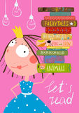 Cartaz bonito inteligente dos livros de leitura da menina ilustração royalty free