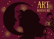 Cartaz bonito no estilo do art nouveau com perfil da mulher e lua no fundo estrelado da noite Fotografia de Stock