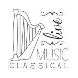 Cartaz branco clássico de Live Music Concert Black And com o instrumento caligráfico do texto e da harpa ilustração do vetor