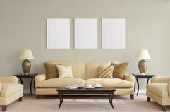 Cartaz branco com o modelo vazio do quadro imagens de stock royalty free