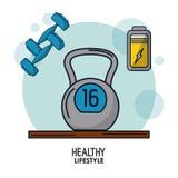 Cartaz branco do fundo do estilo de vida saudável com peso e pesos do kettlebell e do ícone da bateria na parte superior ilustração royalty free
