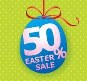 Cartaz brilhante colorido do fundo da venda da Páscoa com porcentagem do ovo e de disconto Fotografia de Stock