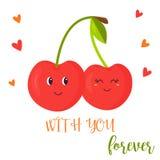 Cartaz brilhante com pares bonitos de cereja doce ilustração royalty free