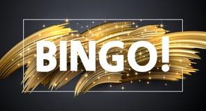 Cartaz brilhante do Bingo com cursos dourados da escova no fundo cinzento ilustração royalty free