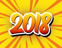 Cartaz 2018 cômico do estilo do pop art do ano novo feliz ilustração do vetor