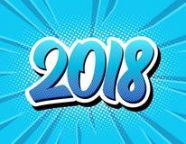 Cartaz 2018 cômico do estilo do pop art do ano novo feliz ilustração stock