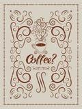 Cartaz caligráfico do estilo do vintage do grunge do café Copo do café quente com vapor estilizado Ilustração retro do vetor Imagem de Stock Royalty Free
