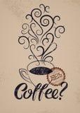Cartaz caligráfico do estilo do vintage do grunge do café Copo do café quente com vapor estilizado Ilustração retro do vetor Imagens de Stock