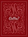 Cartaz caligráfico do grunge do estilo do vintage do café Ilustração retro do vetor Imagem de Stock