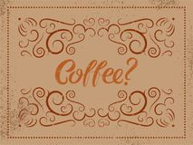 Cartaz caligráfico do grunge do estilo do vintage do café Ilustração retro do vetor Fotografia de Stock Royalty Free