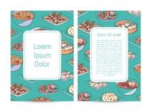 Cartaz chinês do restaurante com pratos asiáticos ilustração do vetor