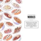 Cartaz chinês dos macarronetes com pratos asiáticos ilustração do vetor