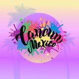 Cartaz colorido de Cancun México Texto de rotulação na moda da tipografia Bandeira do partido da praia, projeto da cópia ilustração do vetor