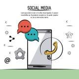 Cartaz colorido de meios sociais com logotipo dos ajustes das bolhas do discurso dos ícones e de telefone com o smartphone no ver Fotos de Stock